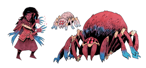 Illustration of the spider from Vast: The Mysterious Manor board game