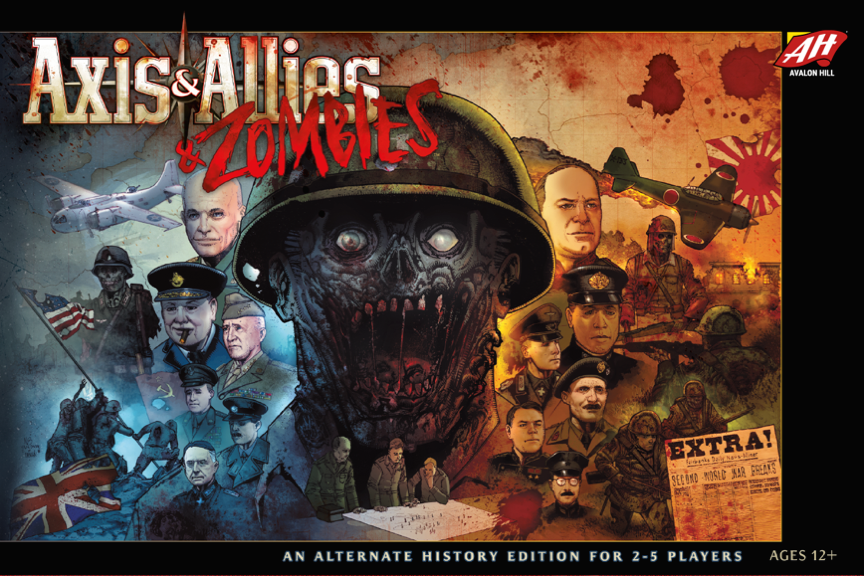 Axis & Allies & Zombies, Avalon Hill, 2018 — front cover (image provided by the publisher)