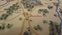 Detail of the board focused on the town of Waterloo. 4th Edition