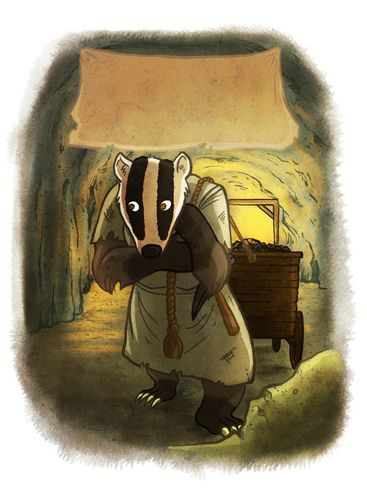 SPQF illustration of a badger pulling a cart through a tunnel