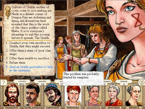 A screen shot from King of Dragon Pass video game